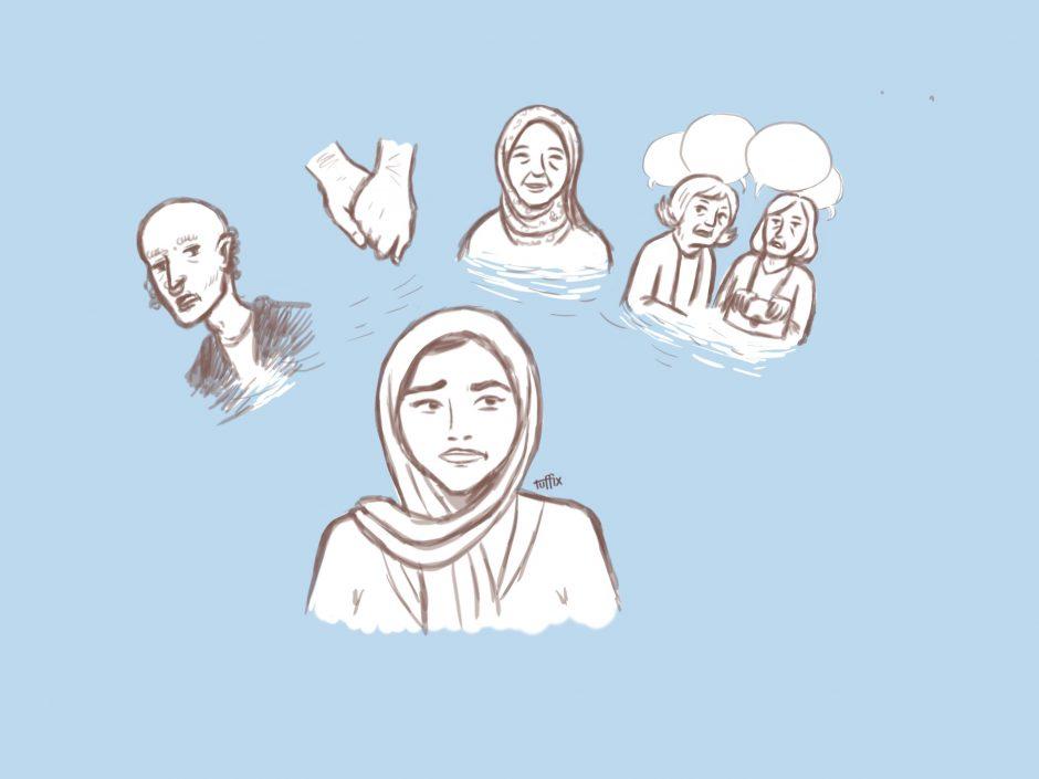 Muslimer Kerl, der weiße Mädchen